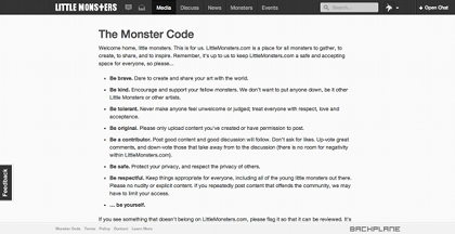 GROUND RULES AT LITTLEMONSTERS.COM