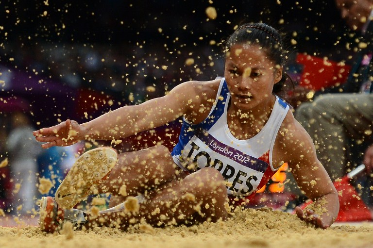 Philippines' Marestella Torres competes in the women's long jump qualifying rounds at the athletics event during the London 2012 Olympic Games on August 7, 2012 in London. AFP PHOTO / FRANCK FIFE
