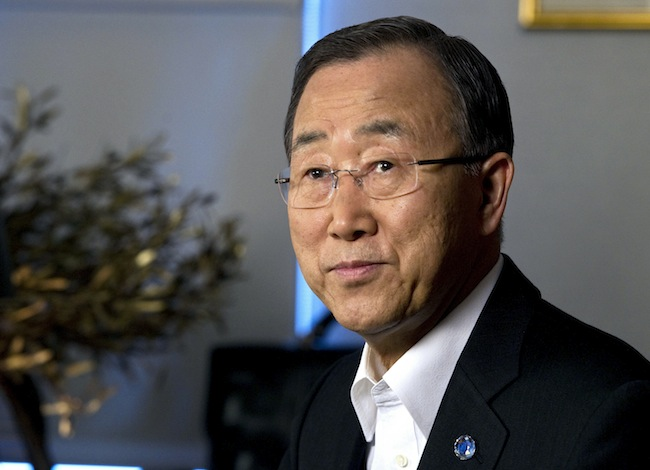 UN Secretary-General Ban Ki-moon, as he records a video message in his office, 23 May 2012, United Nations, New York. UN Photo/Eskinder Debebe