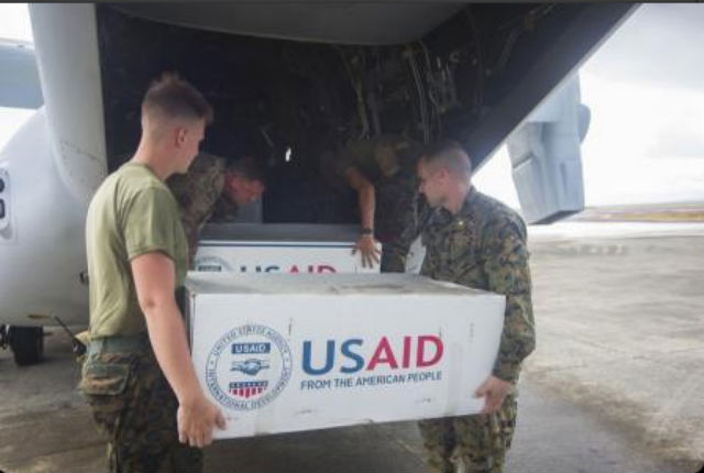 HELP IS ON ITS WAY. Marines load supplies onto an MV-22 Osprey operating in support of Operation Damayan in Tacloban Airport. (Posted on Nov 15) Photo provided by the Phiilippine Embassy in Washington