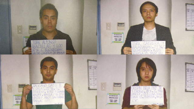 ARRESTED. From left to right and top to bottom: Abastillas, Cabrera, Datu and De la Paz. Collage from case file photos by Jessica Lazaro