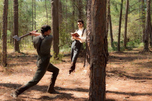 WOULD-BE SLAYER. Benjamin Walker and Dominic Cooper are clearly not tree huggers
