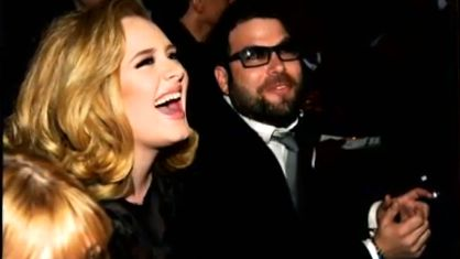 NEW PARENTS. Adele with boyfriend Simon Konecki. Screen grab from YouTube (fuse)