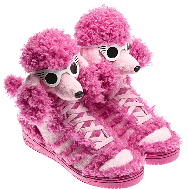 AREN'T THEY THE CUTEST? The world of dogs and shoes meet in these shoes designed by Jeremy Scott for adidas Originals. Photo courtesy of ICON International