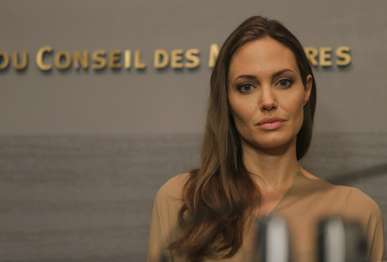 SPECIAL ENVOY. US actress and UNHCR special envoy Angelina Jolie attends a press conference following a meeting with UN High Commissioner for Refugees Antonio Guterres and Lebanese Prime Minister Najib Mikati in Beirut on September 12, 2012. The number of refugees who have fled Syria has reached more than 250,000, the United Nations said , calling the humanitarian problems sparked by the conflict u0022our biggest crisisu0022. AFP PHOTO/JOSEPH EID