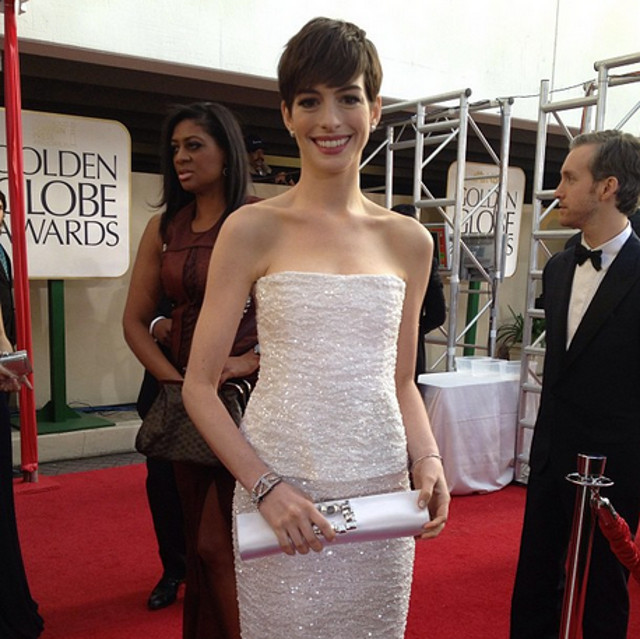 SHE DREAMED A DREAM. And it came true. 'Les Mis' actress Anne Hathaway at the red carpet of the 70th Golden Globes. Instagram pic posted by goldenglobes