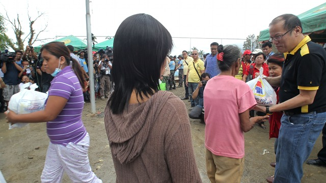 NO TO 'BAHALA NA.' President Aquino says government officials should not resort to u0022bahala nau0022 and u0022pwede nau0022 thinking in planning their areas and preparing for disasters. Photo of Aquino in Compostela Valley by Malacau00f1ang Photo Bureau