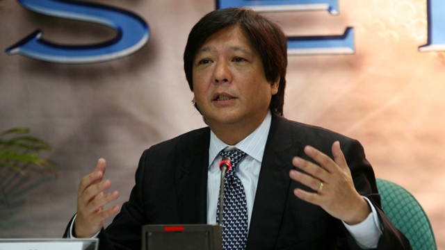ACCURATE. Senator Bongbong Marcos says that his educational record is accurate. File photo by Senate PRIB, Cesar Tomambo