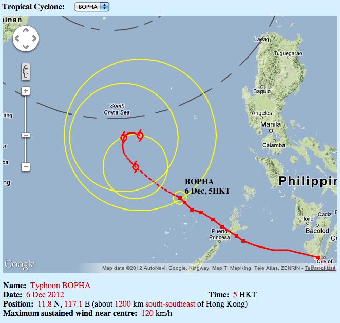 Hong Kong Observatory forecast track for Bopha as of 8 am December 6, 2012. Image courtesy of the HKO.