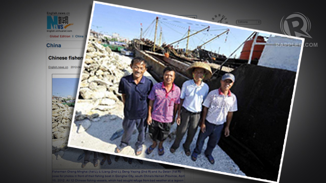 BOATMEN INVOLVED. Some of the Chinese fishermen accosted by the Philippine Navy pose before their fishing boat. Screen grab from news.xinhuanet.com