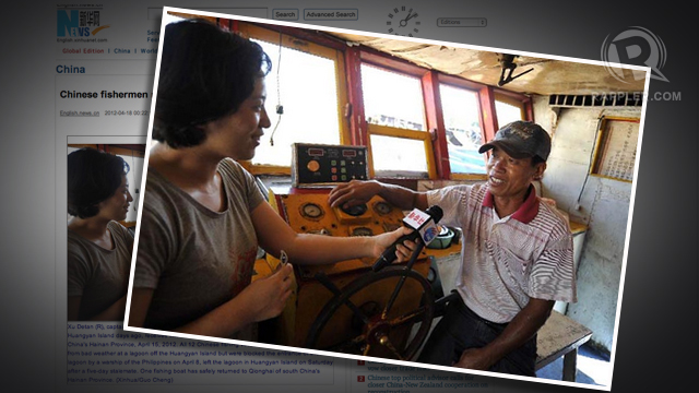 CHINESE BOATMEN. The Philippine-China standoff began after the Philippine Navy caught Chinese fishermen like Xu Detan (in photo) in Scarborough Shoal. Screen grab from news.xinhuanet.com