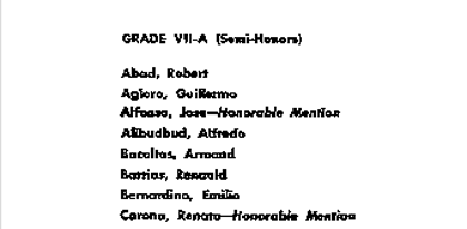 NO GOLD. The Ateneo Grade School 1962 commencement program lists Corona as an honorable mention awardee.
