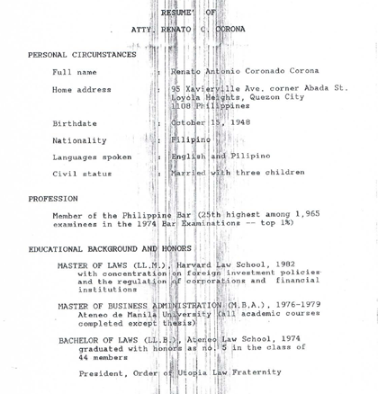 ON RECORD. Corona submits his own resume and information to Malacau00f1ang when he was assistant executive secretary in 1992.