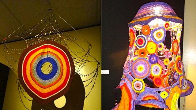(Left) A DREAM CATCHER, 'AURA' and (right) a lamp, 'Kaliwanagan'