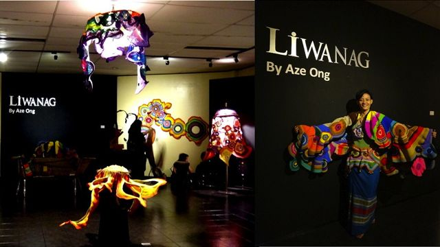 (Left) A GLIMPSE OF THE current 'Liwanag' exhibit; (right) the artist wearing one of her creations, the 'Lotus' shawl