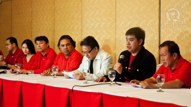 DEFENSE IN RED. The defense panel dresses in red to make a statement. Photo by Rappler