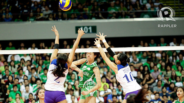 UNSTOPPABLE. Mika Reyes of the De La Salle University Lady Spikers spikes home one of her 13 points en route to a straight set domination of rival Ateneo de Manila University Lady Eagles on Sunday afternoon at Mall of Asia Arena. Photo by Josh Abeleda