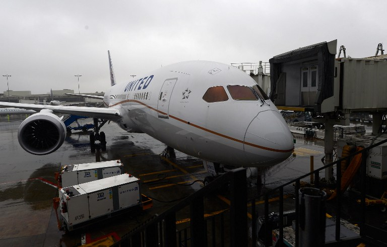 The United Airlines Boeing 787 Dreamliner sits a a gate for a tour at Los Angeles International Airport on November 30, 2012 in Los Angeles, California. Kevork Djansezian/Getty Images/AFP