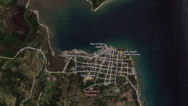 CRASH AREA. Google Maps aerial image of the area where the drone crashed in the waters off Masbate