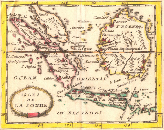 17th century Duval map of the Sunda Islands, a group of islands that form part of the Malay archipelago.