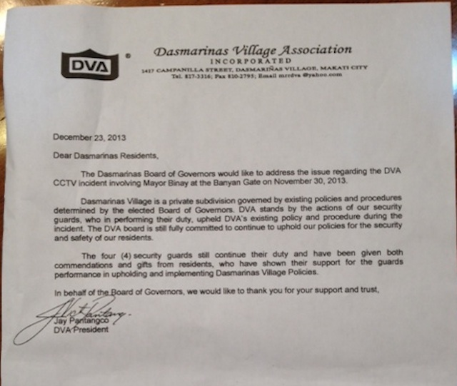 COMMENDATION. The letter to homeowners from the Dasmariu00f1as Village Association (DVA) on the Nov 30, 2013 gate incident.