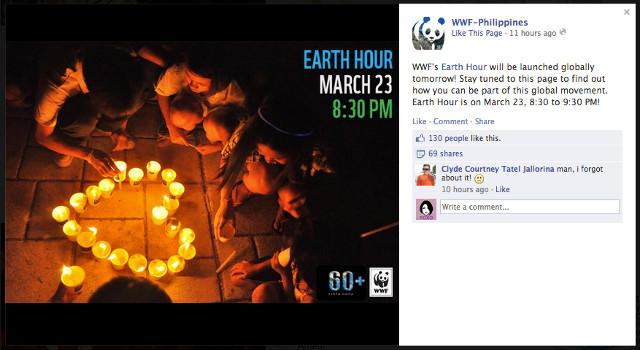 Screen shot from Facebook