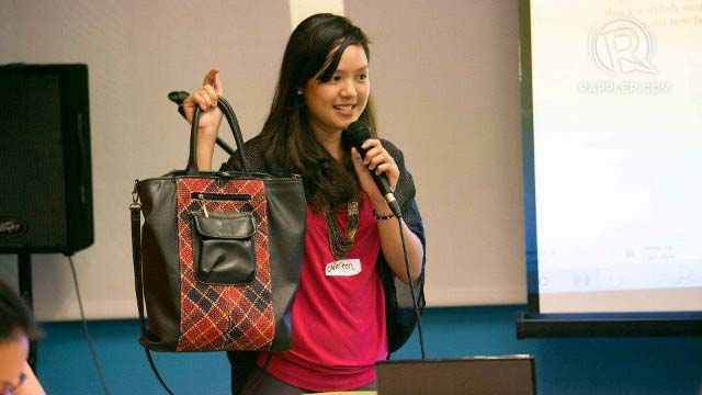 STYLISH AND EARTH-FRIENDLY. Noreen Bautista, co-founder of Jacinto u0026 Lirio, proudly holds up one of their bags