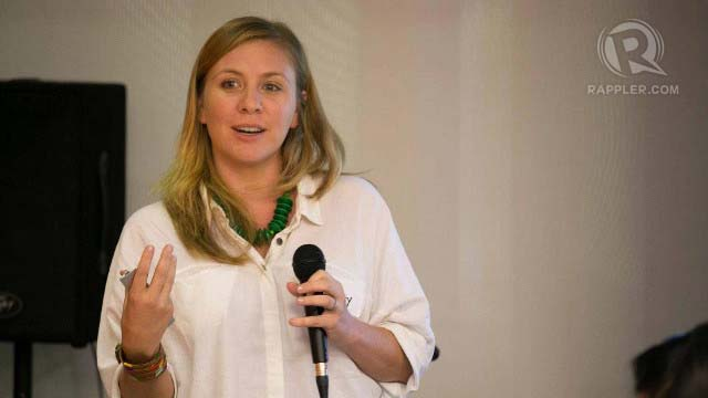 ECO-SHOPPING ADVOCATE. Whitney Fleming, founder of Lumago Designs, talks to workshop participants