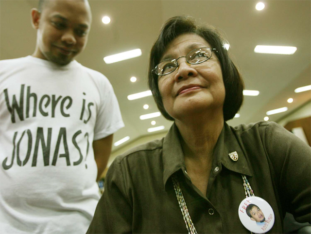 MOTHER AND SON. Edita and JL Burgos during a Court of Appeals hearing. File photo from Newsbreak