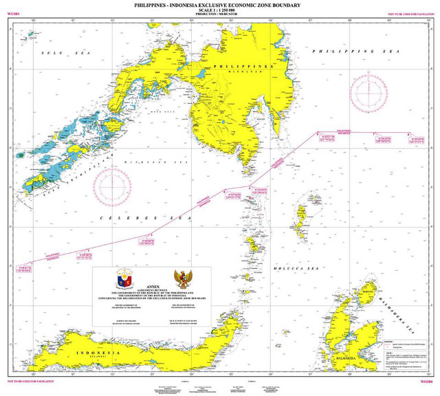 HISTORIC AGREEMENT. The map shows the exclusive economic zone boundary between the Philippines and Indonesia. Photo courtesy of DFA
