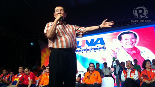 BIGGEST GAINER. Senate President Juan Ponce Enrile gained 7 points in his approval ratings in March after his a 27-point drop in January amid the Senate fund controversy. File photo by Rappler/Ayee Macaraig