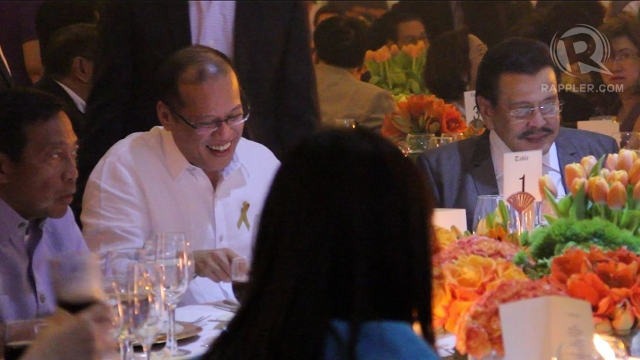 THEIR GUEST. UNA leaders Vice President Jejomar Binay and former President Joseph Estrada dine with President Aquino during Estrada's birthday last week. Binay says politics was not discussed.