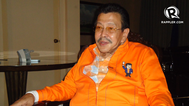 'STOP THE DIRTY TRICKS.' Mayoral candidate Joseph Estrada says incumbent Mayor Alfredo Lim is living up with his name as u0022Dirty Harry.u0022 Rappler/Jerald Uy