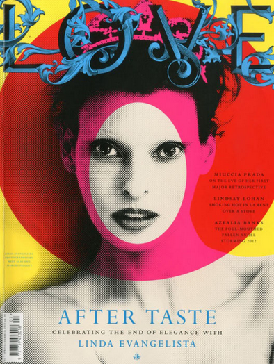TIMELESS BEAUTY. Evangelista on the cover of UK fashion magazine Love under Conde Nast. Photo from fashiongonerogue.com