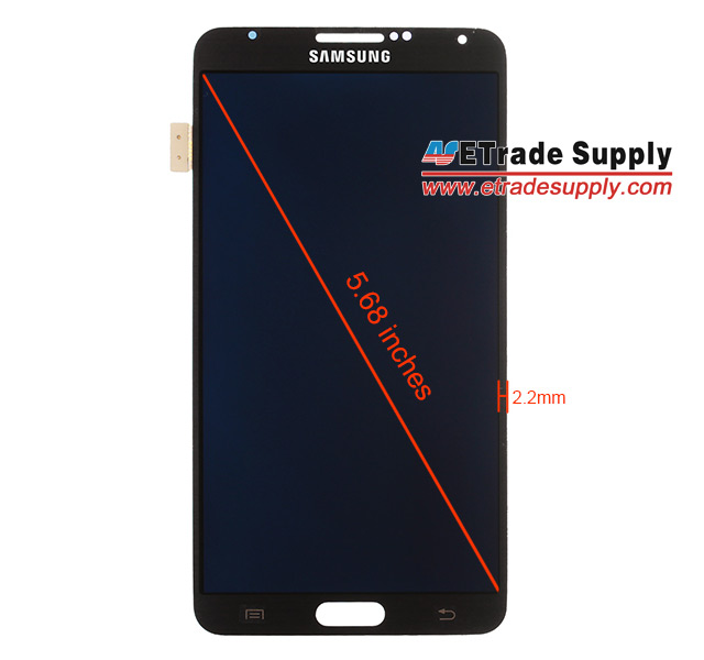 SMALLER BEZEL: The Galaxy Note 3 is reported to sport a larger display but will retain its form factor thanks to a smaller 2.2mm bezel according to this image from e-tradesupply.com