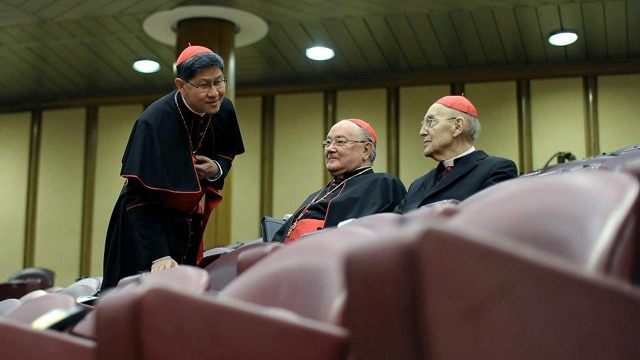 UNDER SECRECY. Cardinals, like Manila Archbishop Luis Antonio Tagle (left), vow not to leak the discussions in their General Congregations. Photo from news.va's Facebook page