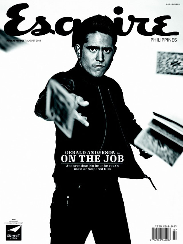 GERALD ON THE JOB. Gerald Anderson in Esquire's three-part cover. Photo by Paco Guerrero.