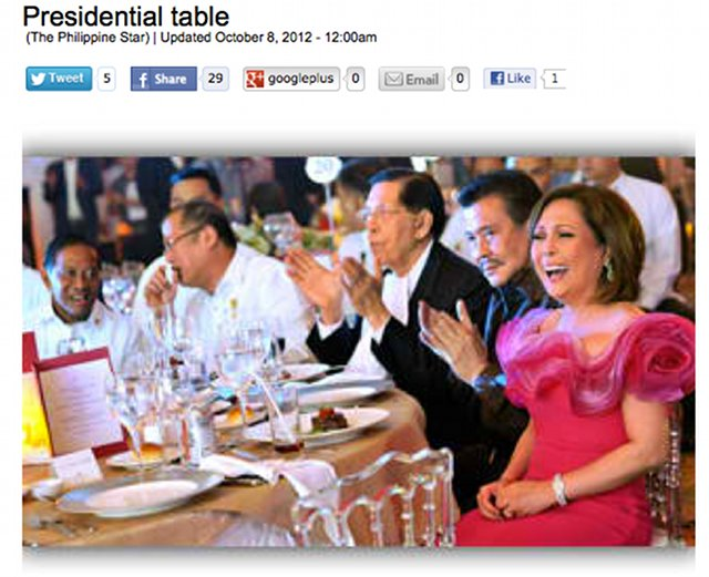 POWER CIRCLE. Screenshot of a Philippine Star photo showing Gigi Reyes celebrating her birthday with the country's top leaders