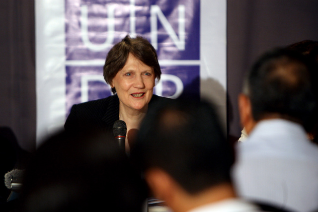 TWO-DAY VISIT. UNDP administrator Helen Clark addresses the Philippine media on March 27, 2014 at the Peninsula Manila Hotel. Photo by Jacq Hernandez/UNDP