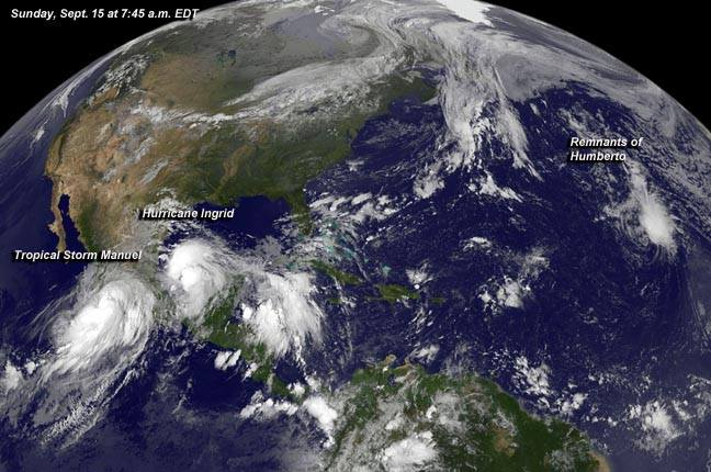 THREE SYSTEMS. A NASA satellite image taken September 15, 2013 shows three weather systems: (L-R) Tropical Storm Manuel, Hurricane Ingrid, and the remnants of storm Humberto. Image courtesy NASA