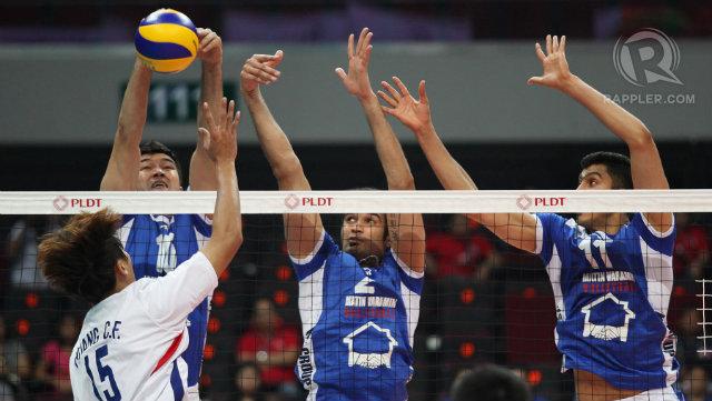 BLOCKED. Reigning champions Iran blocks Chinese Taipei. Photo by Josh Albelda/Rappler