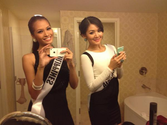 Janine with roommate Miss Indonesia Maria Selena