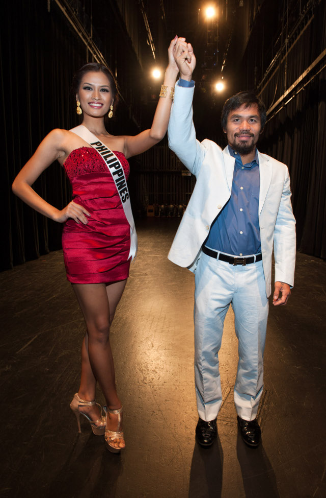 Two Pinoy fighters: Janine Tugonon and Cong. Manny Pacquiao. Photo courtesy of the Miss Universe Organization LP, LLLP