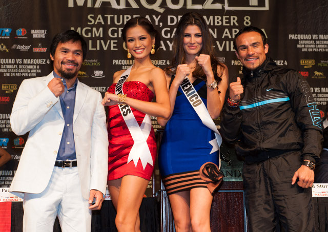 Miss Philippines and Miss Mexico at the final press conference of the Pacquiao VS Marquez 4 fight last December 6 at the MGM Grand. Photo courtesy of the Miss Universe Organization LP, LLLP