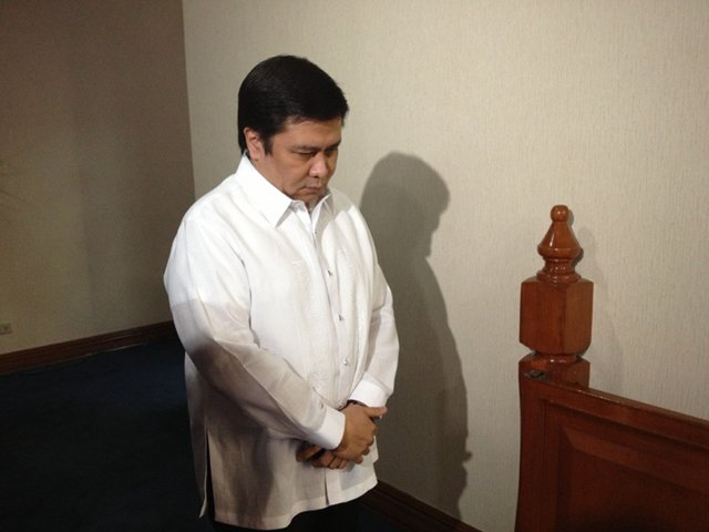 NOT CRIME. Sen Jinggoy Estrada is confident he will be acquitted, saying endorsing an NGO is u0022not a crime.u0022 He is photographed during the prayer at the start of session on Monday, September 16. Photo by Rappler/Ayee Macaraig