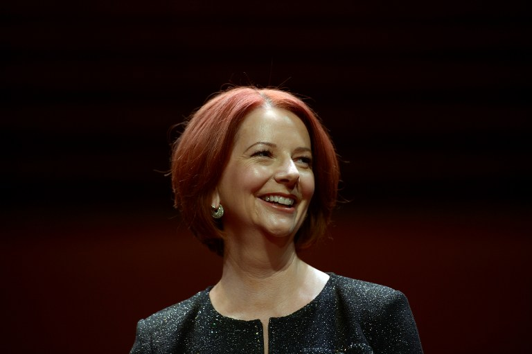 VICTIM OF SEXISM. Australia's former prime minister Julia Gillard says she was the focus of sexist criticism during her term as head of government. Here, Gillard poses for photographs prior to a televised interview at the Sydney Opera House on September 30, 2013. AFP / Saeed Khan