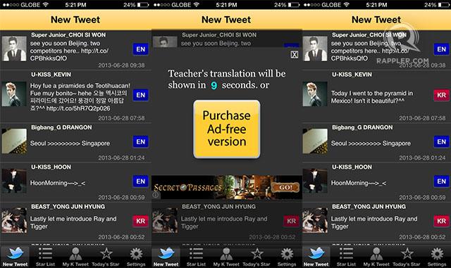 ENGRISH NO MORE. The app translates tweets of Korean celebrities from Korean to English. Screenshot from K Star Tweet app