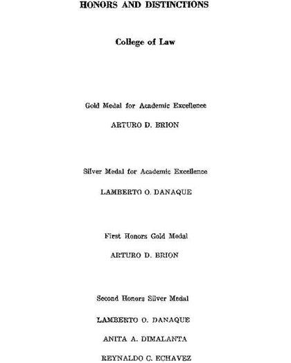 HONORS LIST. Corona is not among those listed as having graduated with honors and distinctions in law school.