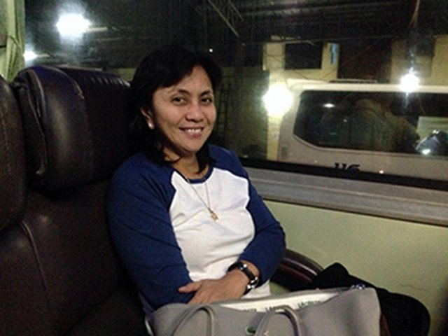 Congresswoman Leni Robredo posts this photo on her Facebook page with the caption, u201cFinale of my travel woes today: am in the bus now (back to where I truly belong) u263a.u201d
