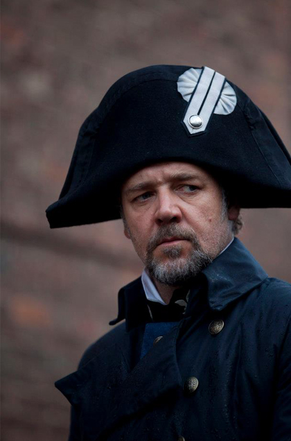 NO ESCAPE from Inspector Javert played by Russell Crowe. Photo from the movie's Facebook page